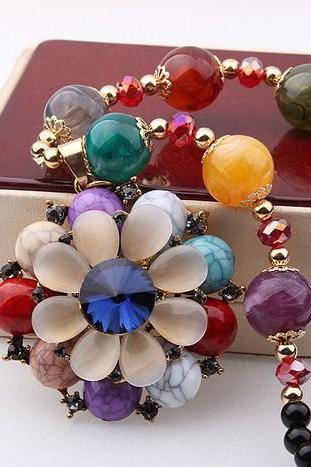 Ethnic double flowers gem sweater chain necklace
