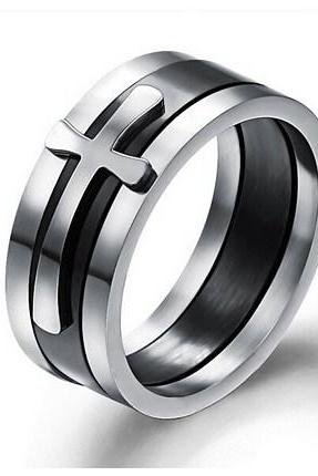 Men's Cross titanium steel ring GJ450