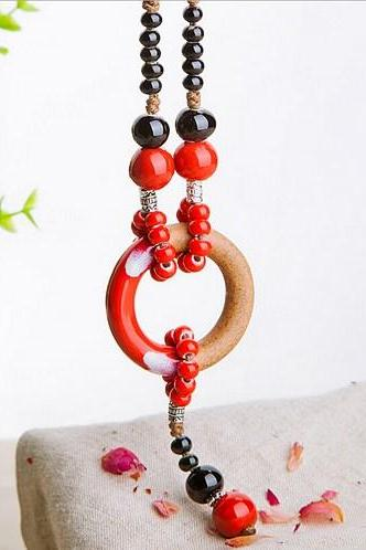 Ceramic red sweater chain retro ethnic style necklace